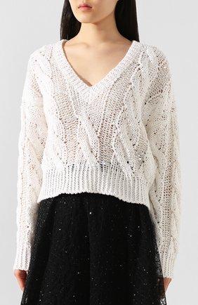 Женский пуловер BRUNELLO CUCINELLI белого цвета, арт. M3Y672002 | Фото 3