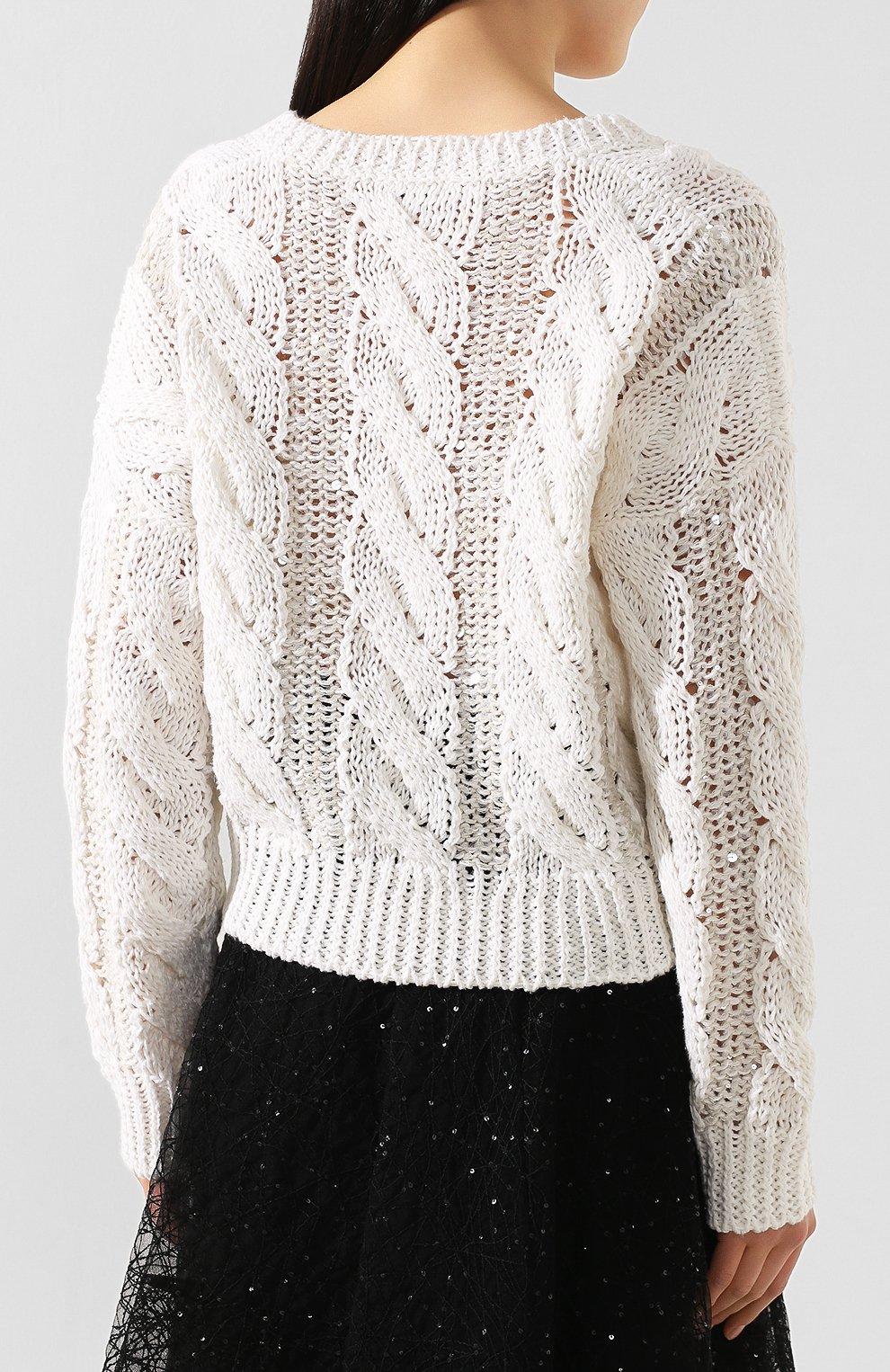 Женский пуловер BRUNELLO CUCINELLI белого цвета, арт. M3Y672002 | Фото 4