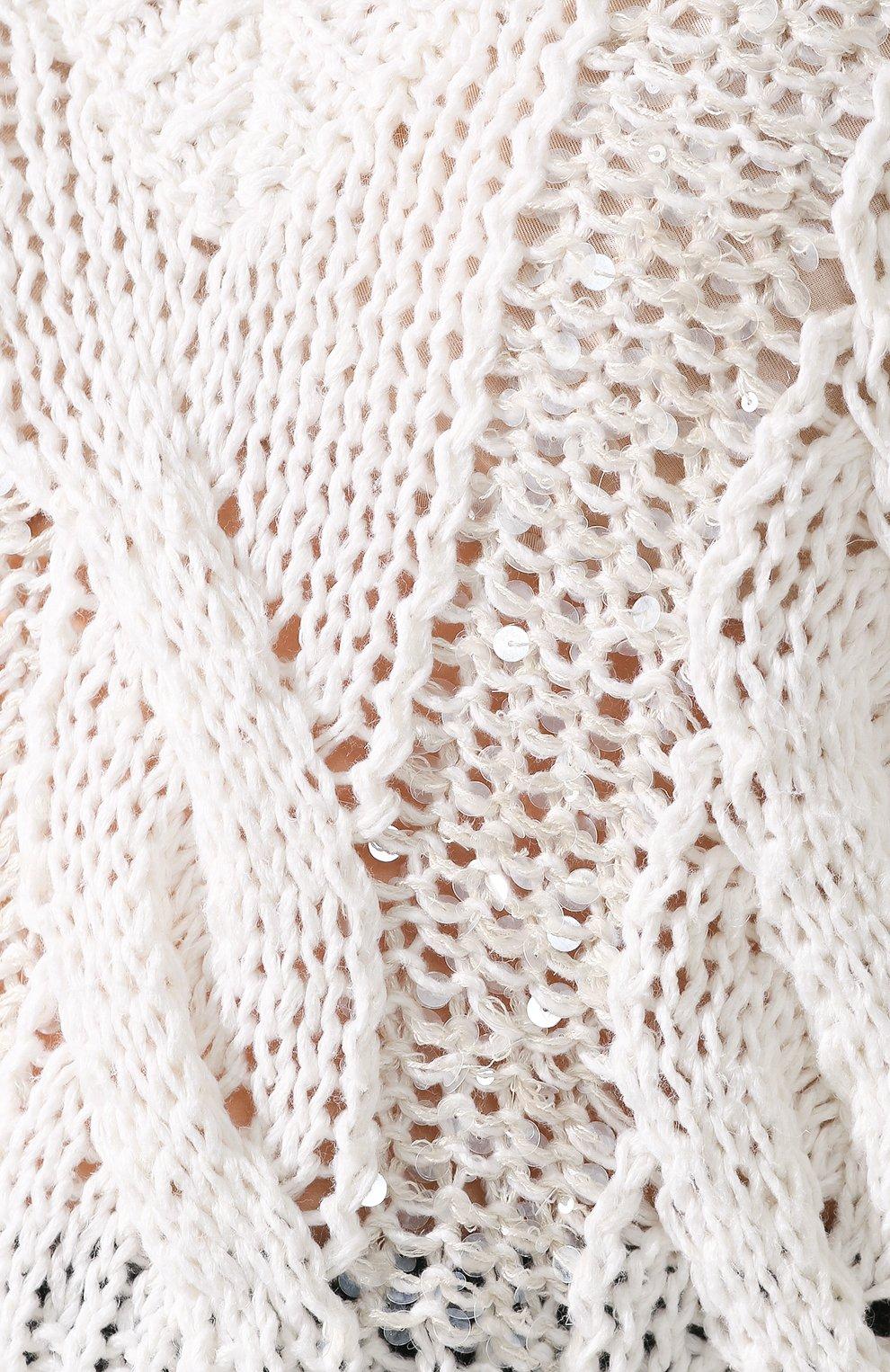 Женский пуловер BRUNELLO CUCINELLI белого цвета, арт. M3Y672002 | Фото 5