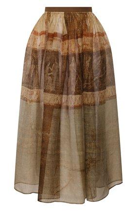 Женская шелковая юбка UMA WANG бежевого цвета, арт. P0 W UW2010 | Фото 1