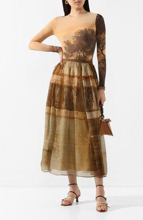 Женская шелковая юбка UMA WANG бежевого цвета, арт. P0 W UW2010 | Фото 2