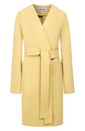 Женское кожаное пальто LOEWE желтого цвета, арт. S540336X48 | Фото 1