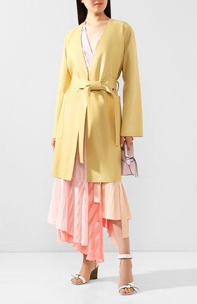 Женское кожаное пальто LOEWE желтого цвета, арт. S540336X48 | Фото 2