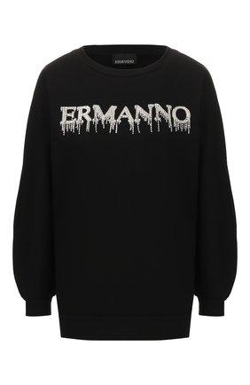 Женская хлопковый свитшот ERMANNO ERMANNO SCERVINO черного цвета, арт. 46T FL09 FEL   Фото 1