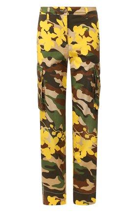 Женские хлопковые брюки ERMANNO ERMANNO SCERVINO желтого цвета, арт. 46T PL05 FAC   Фото 1