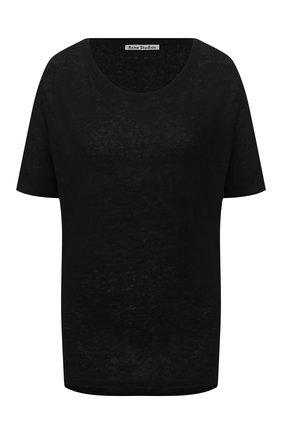 Женская льняная футболка ACNE STUDIOS черного цвета, арт. AL0113/W | Фото 1