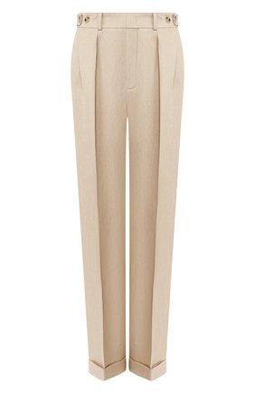 Женские льняные брюки LORO PIANA бежевого цвета, арт. FAL0786 | Фото 1