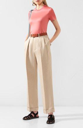 Женские льняные брюки LORO PIANA бежевого цвета, арт. FAL0786 | Фото 2