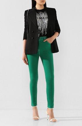 Женские джинсы BALMAIN зеленого цвета, арт. TF05460/D022 | Фото 2