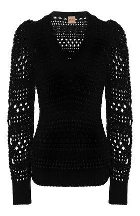 Женская хлопковый пуловер NUDE черного цвета, арт. 1101710/V NECK SWEATER | Фото 1