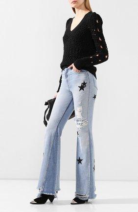 Женская хлопковый пуловер NUDE черного цвета, арт. 1101710/V NECK SWEATER | Фото 2