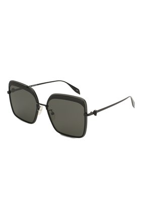 Женские солнцезащитные очки ALEXANDER MCQUEEN черного цвета, арт. AM0222SK-001 | Фото 1