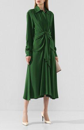Женское шелковое платье VICTORIA BECKHAM зеленого цвета, арт. 1120WDR000582A | Фото 2