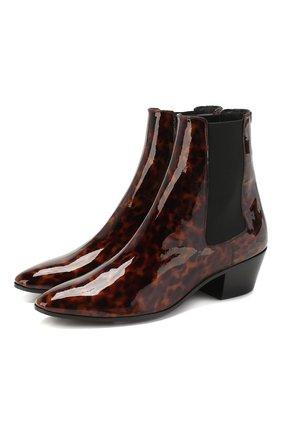 Женские кожаные ботинки west SAINT LAURENT леопардового цвета, арт. 606602/1QX00 | Фото 1