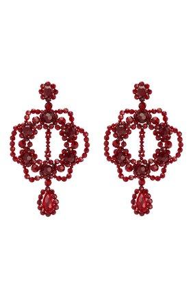 Женские серьги SIMONE ROCHA бордового цвета, арт. ERG199/0903 | Фото 1