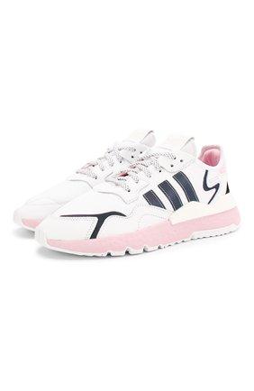 Женские комбинированные кроссовки nite jogger ADIDAS ORIGINALS белого цвета, арт. EG7942 | Фото 1