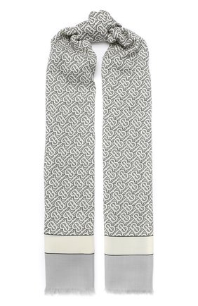 Мужские кашемировый шарф BURBERRY серого цвета, арт. 8027220 | Фото 1