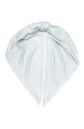 Женская шаль из смеси шелка и шерсти BURBERRY голубого цвета, арт. 8026934 | Фото 1
