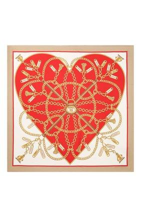 Женский шелковый платок BURBERRY красного цвета, арт. 8029394 | Фото 3
