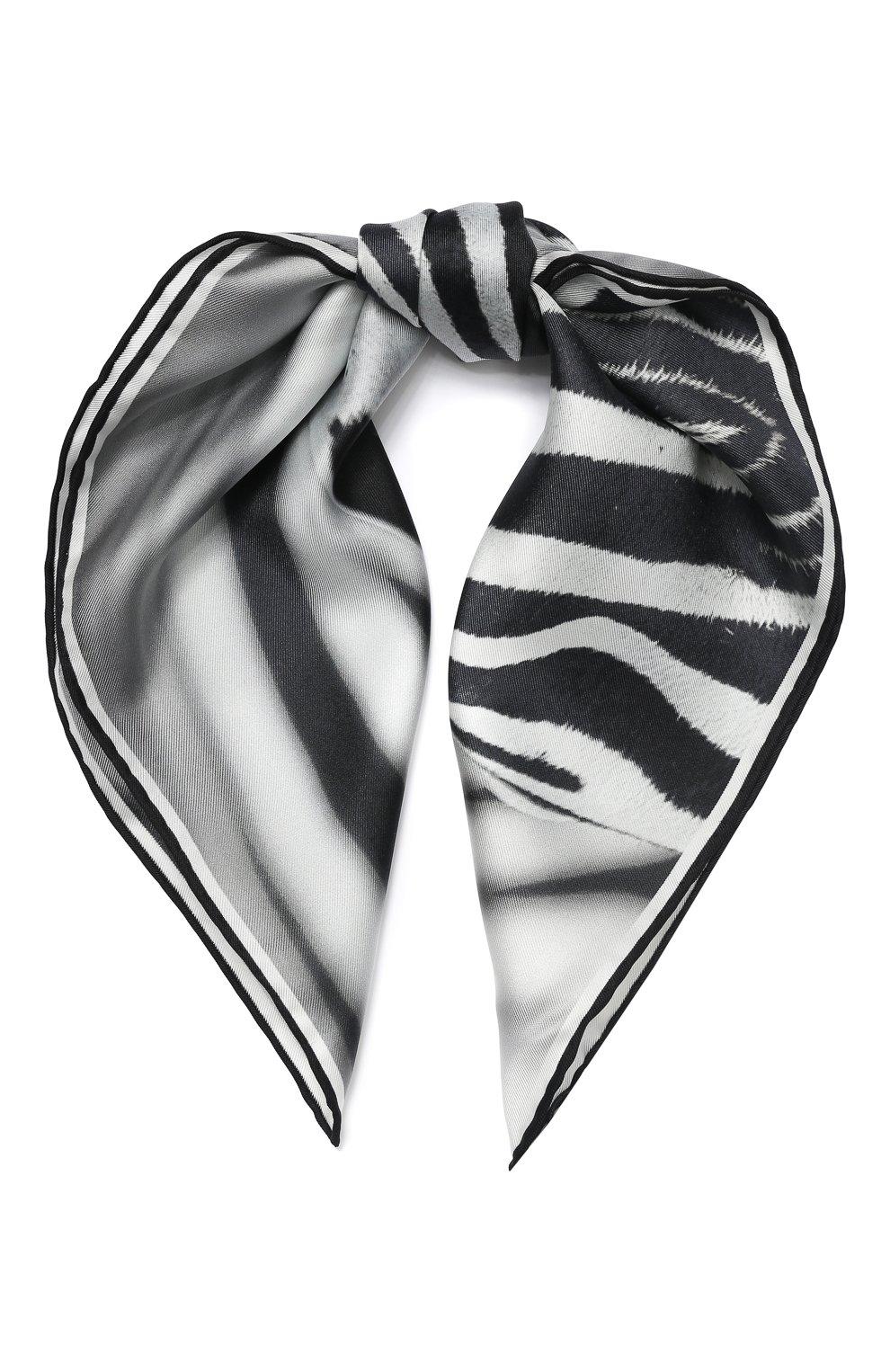 Женский шелковый платок BURBERRY серого цвета, арт. 8029004 | Фото 1 (Материал: Текстиль, Шелк)