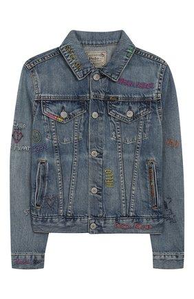 Детская джинсовая куртка POLO RALPH LAUREN голубого цвета, арт. 313783770 | Фото 1