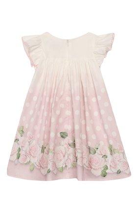 Женский хлопковое платье MONNALISA розового цвета, арт. 315909 | Фото 2