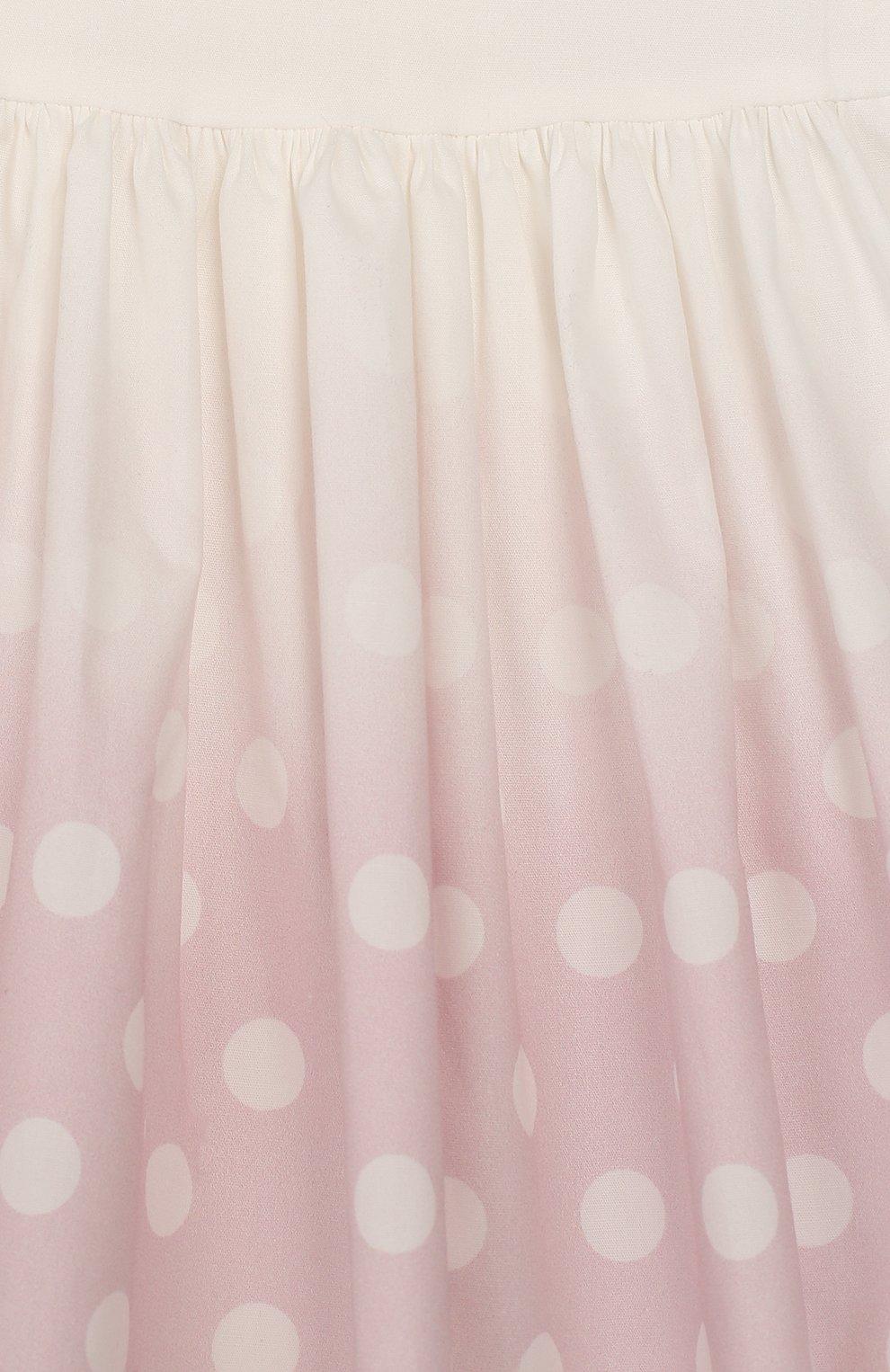 Женский хлопковое платье MONNALISA розового цвета, арт. 315909 | Фото 3 (Рукава: Короткие; Материал внешний: Хлопок; Ростовка одежда: 12 мес | 80 см, 18 мес | 86 см, 24 мес | 92 см, 6 мес | 68 см, 9 мес | 74 см)