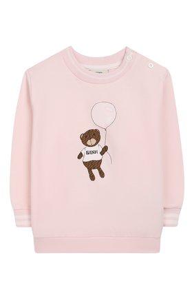 Детский хлопковый свитшот FENDI розового цвета, арт. BUH017/95N/3M-9M | Фото 1