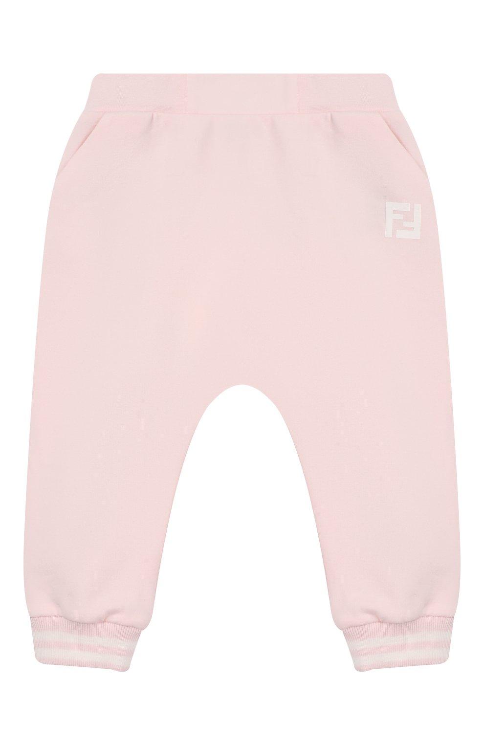 Детские хлопковые джоггеры FENDI розового цвета, арт. BUF021/95N/3M-9M | Фото 1