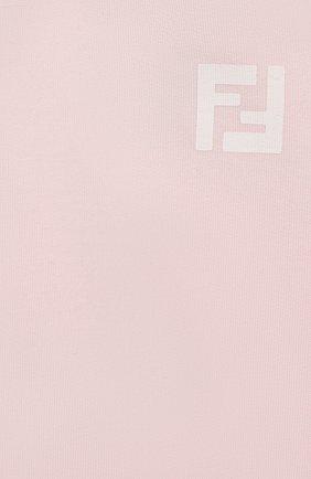 Детские хлопковые джоггеры FENDI розового цвета, арт. BUF021/95N/3M-9M | Фото 3