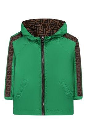 Детского двусторонняя куртка FENDI зеленого цвета, арт. JUA080/AAC1/8A-12+ | Фото 1