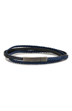 Мужской кожаный браслет TATEOSSIAN синего цвета, арт. BR0621 | Фото 1 (Материал: Кожа)