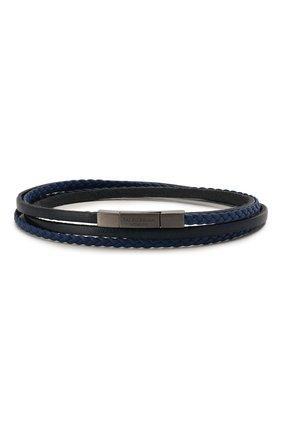 Мужской кожаный браслет TATEOSSIAN синего цвета, арт. BR0622 | Фото 1 (Материал: Кожа)