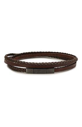 Мужской кожаный браслет TATEOSSIAN коричневого цвета, арт. BR0624 | Фото 1 (Материал: Кожа)