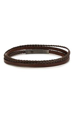 Мужской кожаный браслет TATEOSSIAN коричневого цвета, арт. BR0624 | Фото 2 (Материал: Кожа)