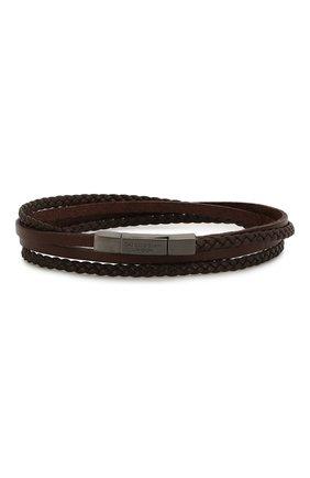 Мужской кожаный браслет TATEOSSIAN коричневого цвета, арт. BR0625 | Фото 1 (Материал: Кожа)