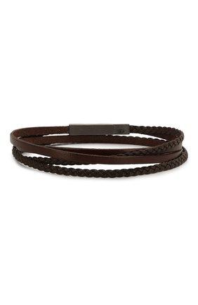 Мужской кожаный браслет TATEOSSIAN коричневого цвета, арт. BR0625 | Фото 2 (Материал: Кожа)