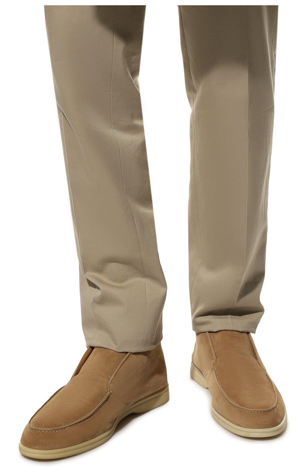 Мужские замшевые ботинки open walk LORO PIANA бежевого цвета, арт. FAB4368 | Фото 3