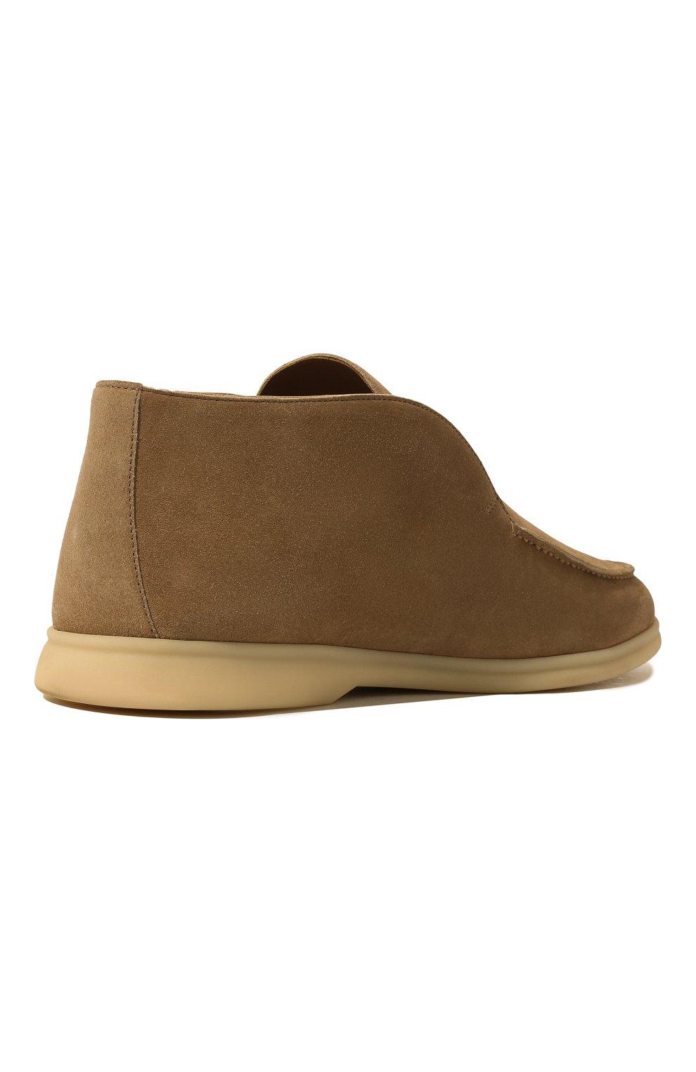 Мужские замшевые ботинки open walk LORO PIANA бежевого цвета, арт. FAB4368 | Фото 5