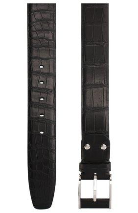 Мужской ремень из кожи крокодила ZILLI черного цвета, арт. MJL-CLAQE-01010/0819/CP0R | Фото 2