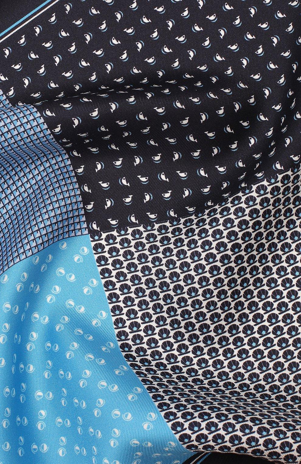 Мужской шелковый платок BOSS синего цвета, арт. 50433797   Фото 2