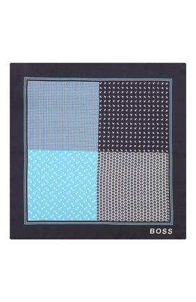 Мужской шелковый платок BOSS синего цвета, арт. 50433797   Фото 3