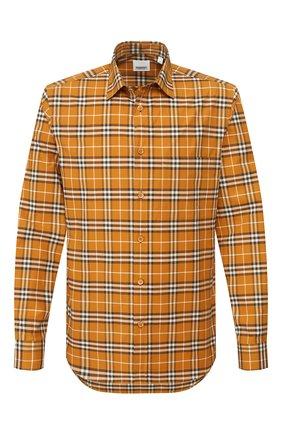 Мужская хлопковая рубашка BURBERRY бежевого цвета, арт. 8025844 | Фото 1