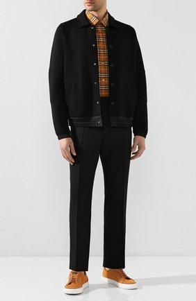 Мужская хлопковая рубашка BURBERRY бежевого цвета, арт. 8025844 | Фото 2