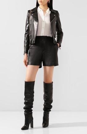 Женские кожаные шорты SAINT LAURENT черного цвета, арт. 622197/YC2ZZ | Фото 2