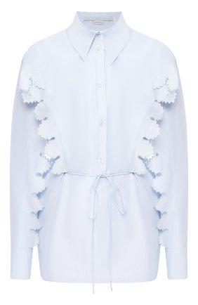 Женская рубашка из смеси хлопка и шелка STELLA MCCARTNEY голубого цвета, арт. 601555/S0A29 | Фото 1