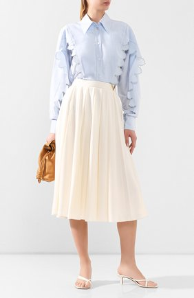 Женская рубашка из смеси хлопка и шелка STELLA MCCARTNEY голубого цвета, арт. 601555/S0A29 | Фото 2