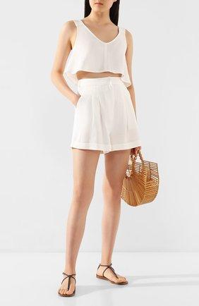 Женские льняные шорты LE KASHA белого цвета, арт. CESAREE   Фото 2