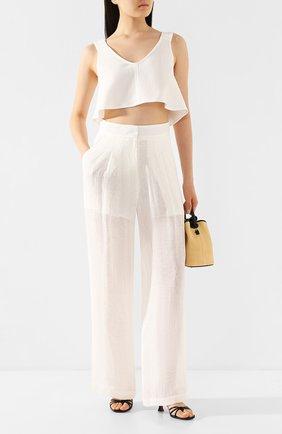 Женские льняные брюки LE KASHA белого цвета, арт. S0HAG00   Фото 2