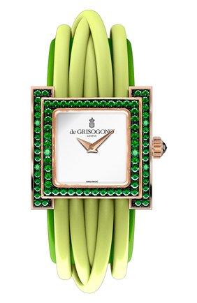 Женские часы rose gold emeralds DE GRISOGONO белого цвета, арт. ALLEGRA S01 | Фото 1